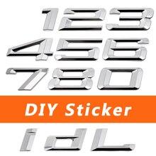 Metal DIY tylna naklejka odznaka dla BMW 1 2 3 4 5 6 7 serii F10 X1 X3 M3 M5 I8 G30 E46 E34 E30 E90 akcesoria samochodowe naklejki z literami i cyframi