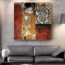 Gustav Klimt Kiss Painting Reproductions On The Wall Classical Famous Art Canvas Posters For Living Room Cuadros Decor
