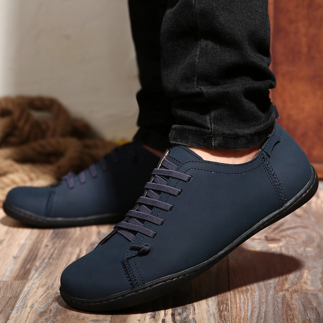 Mens Leather Casual Shoes 2017 Summer Comfortable Lace Up Flats Joggers  Walking Shoes Footwear Chaussure Homme De Marque T030601 df027f536