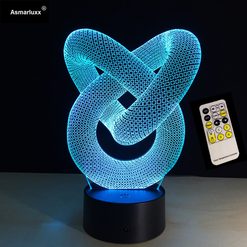 Remote Control Or Touch 7 Colors Love Knot 3D Night Light Creative Acrylic 3D Illusion Wall Decoration Lamp USB Desk Table Lamp remote control bowling ball 3d light led table lamp optical illusion bulbing night light 7 colors changing mood lamp usb lamp