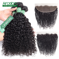 Mongolian Kinky Curly Hair Bundles With Frontal Aircabin Hair 100% Human Hair Bundles With 13x4 Lace Frontal Closure Non Remy