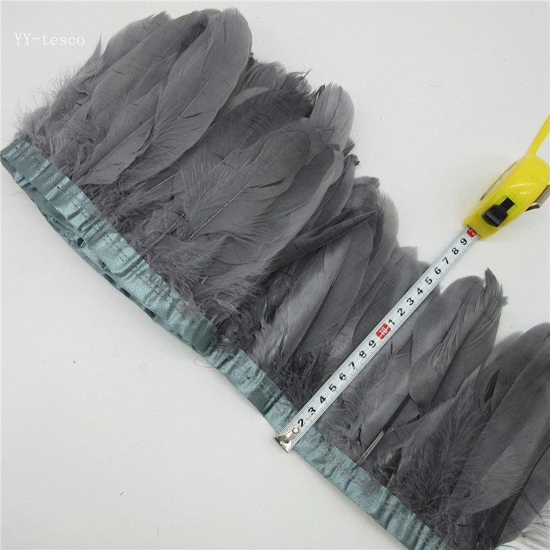 gray Goose Feather Trims 10 Yards Dyed Geese Feather Ribbons/15-20cm Fringes Goose Feather Cloth Belt DIY decorative 20 Color