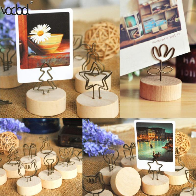 9pcs/lot Round Wooden Base Memo Pincer Clips Photo  Postcard Paper Clips Holder Mini Party Decorative Note Clip Stand Durable