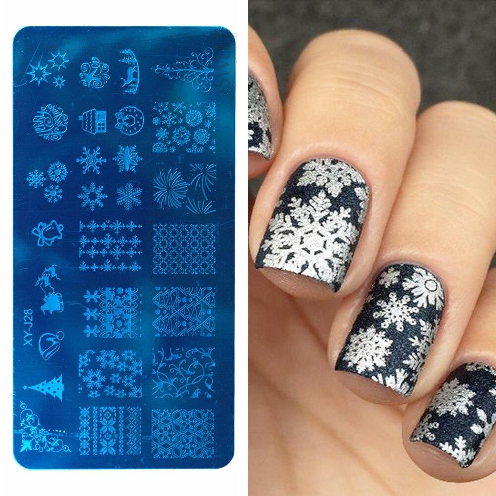 1pcs Christmas Nail Stamping Template Snowflakes Deer Geometric Nail Art Polish Image Stamp Plates Manicure Stencils LAXYJ28-1