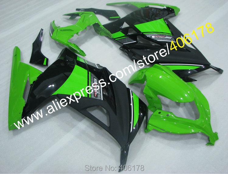 Hot Sales,EX300 Ninja Fairings For Kawasaki Ninja 300R EX 300 2013-2016 ABS Bodywork Green Black Fairing Kit (Injection molding)
