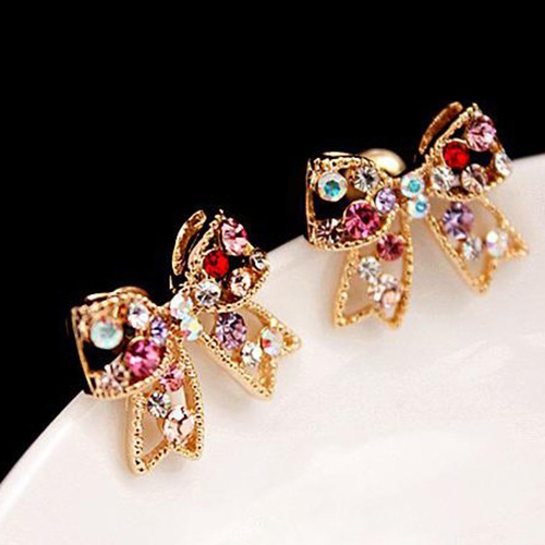 We loving Store 12 pairs Women's Colorful Crystal Gold Tone Bowknot Bow Ear Studs Charm Earrings Jewelry