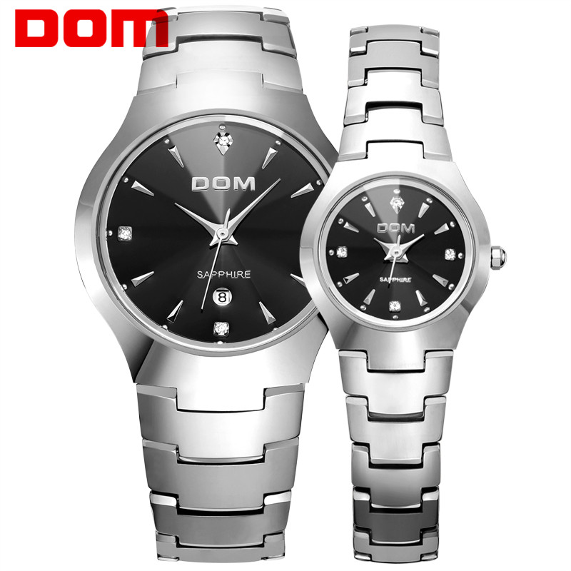 DOM Lover's Tungsten Steel Watches Couple Luxury Fashion Business Steel Quartz Waterproof Men Women Watches W-698+W-398
