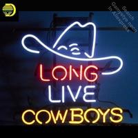 Sinal de néon para Vida Longa Cowboy Neon sinal Lâmpada artesanato Placa tubo de Vidro Real Dropshipping personalizado barra de luzes de néon