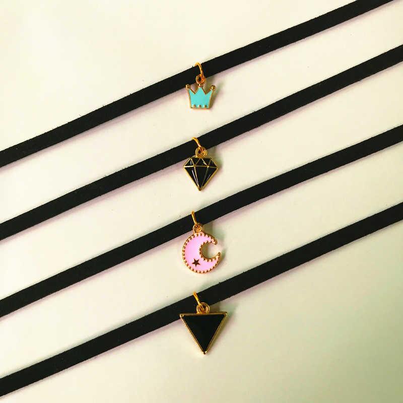 Moda Torque joyería corona cinco estrellas sonrisa collar puro terciopelo negro con Luna triángulo colgante de cristal geométrico collar