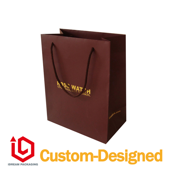 100 customized design paper bag red color jewelry watch shopping