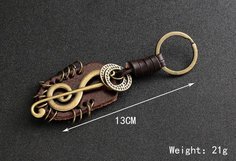 Schlüsselring mit Violinschlüssel Leder 4