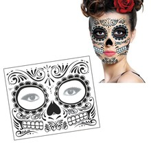 Waterproof Fake Temporary Tattoos Sticker Skull Face Mask Tattoo For Halloween Long Lasting Easy to Remove Makeup