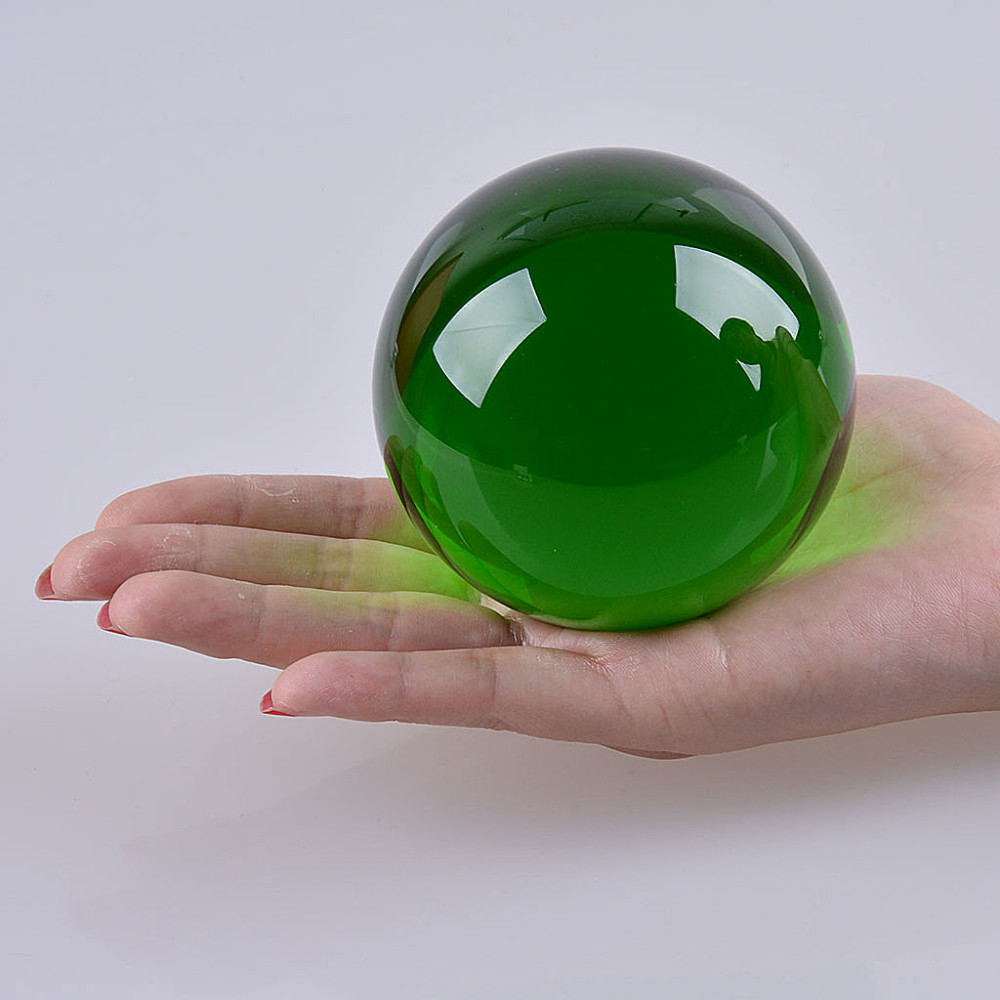 New Hot 100mm Rare Green Crystal Sphere Feng Shui Magic Asian Glass Figurines Sphere Decoration Home Festival Party