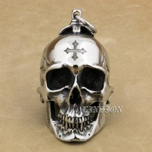 LINSION Huge Heavy 316L Stainless Steel Cross Skull Pendant Mens Biker Rocker Punk Style AJ101 Laser Engraved