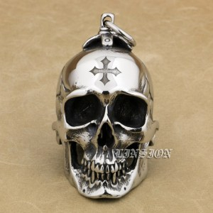 Image 1 - LINSION Huge Heavy 316L Stainless Steel Cross Skull Pendant Mens Biker Rocker Punk Style AJ101 Laser Engraved