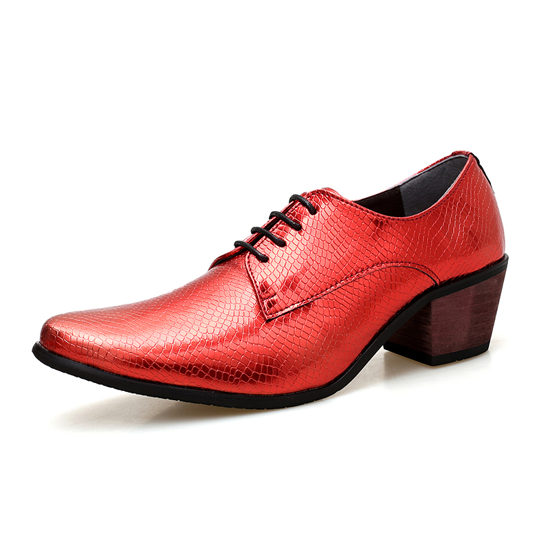 Summer Leather Men Casual Dress Shoes Luxury Brand Mens High Heels Party Pointed Toe Sneakers Lace Up Man Fashion Shoes