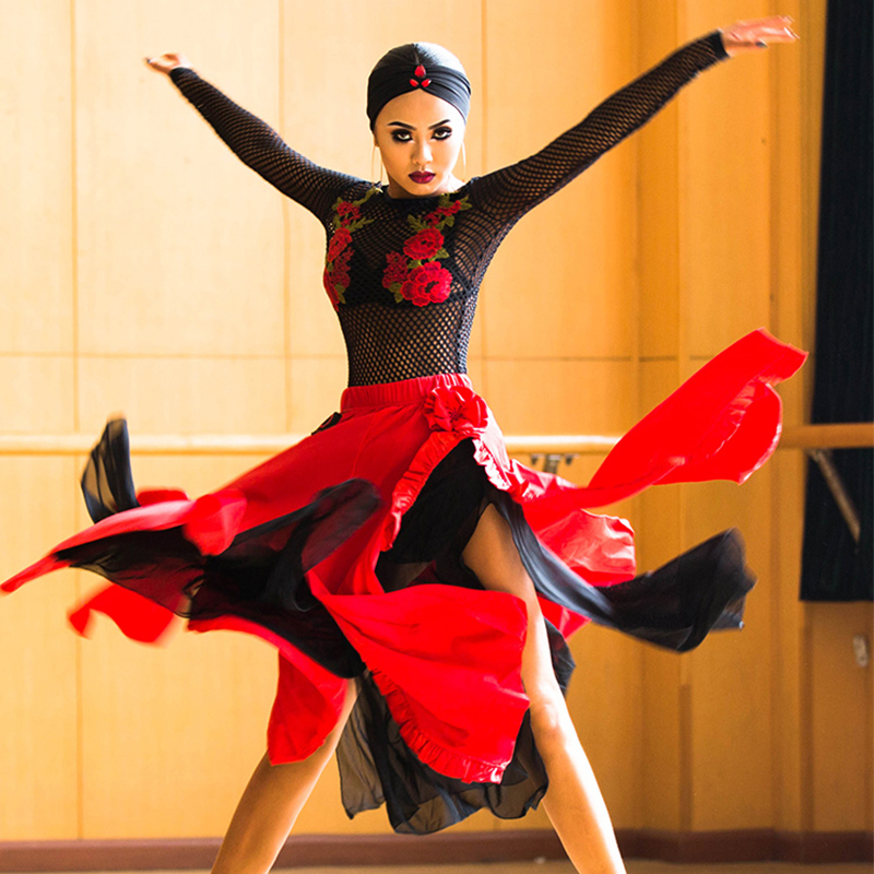 Latin Dance Dress Black Mesh Embroidery Top Red Sexy Slit Long Skirts Latin Costumes Women Clothes Performance Wear DNV10089
