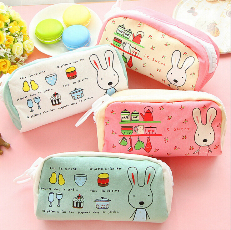 School Pencil Bag frozen pencil pouch double zipper pure and fresh penalty cosmetic bags Office stationery canvas pencil case