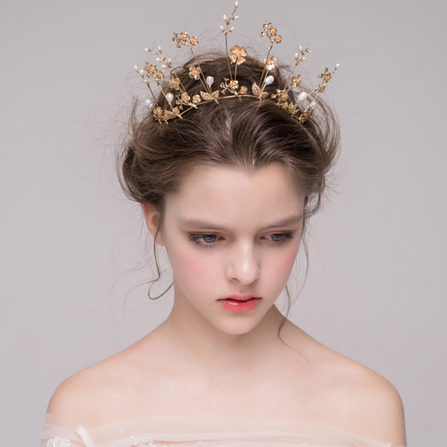 Baroque Gold Bridal Crown Wedding Tiara Hair Accessories Golden Flower Pearl Vine Headband