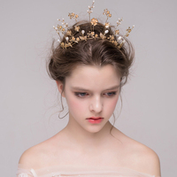 Baroque Gold Bridal Crown Wedding Tiara Bridal Hair Accessories Golden Flower Pearl Bridal Hair Vine Headband