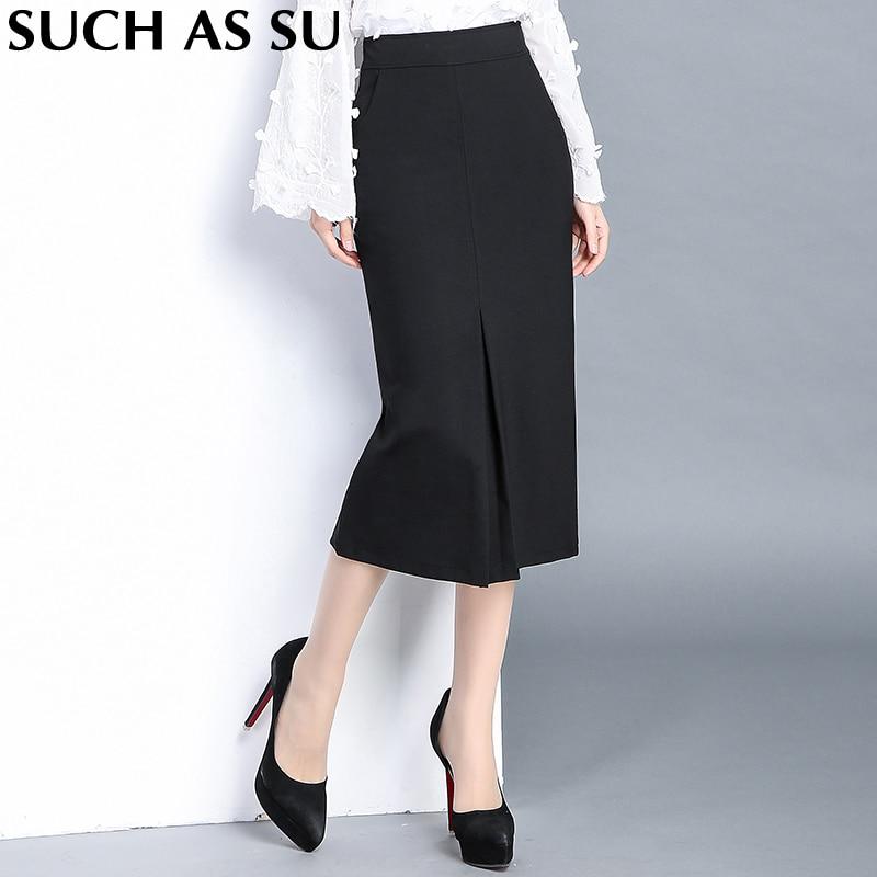 High Quality Knit Skirt Ladies Black Formal High Waist Pencil Skirt S 3XL Plus Size Occupation