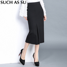 SUCH AS SU Knit Skirt Ladies Black Formal High Waist Pencil Skirt S-3XL Plus Size