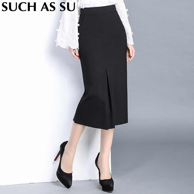 fd19714baff High Quality Knit Skirt Ladies Black Formal High Waist Pencil Skirt S-3XL Plus  Size