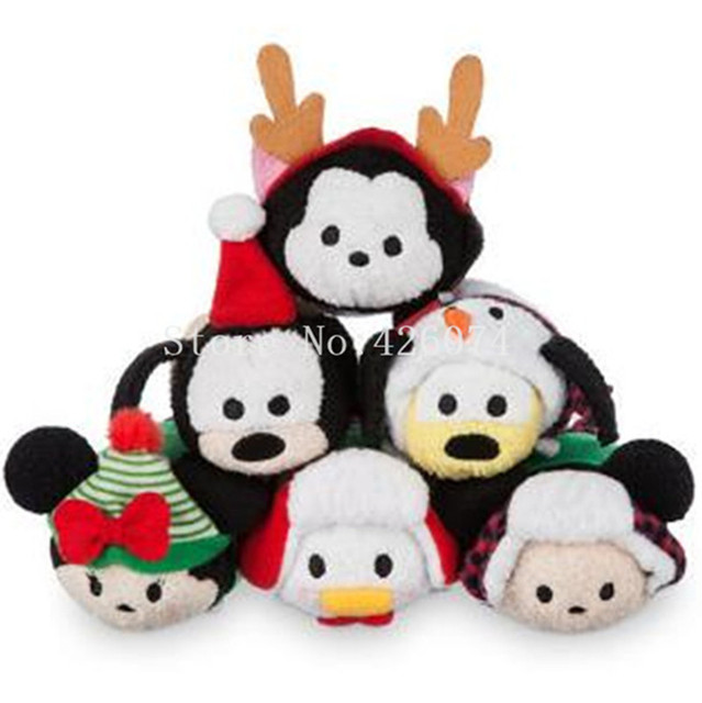 Donald Duck Christmas.Us 4 5 Cute Tsum Tsum Mini Plush Toy Christmas Winter Holiday Minnie Mickey Donald Duck Figaro Cat Goofy Pluto Dog Kids Toys Gifts In Dolls From
