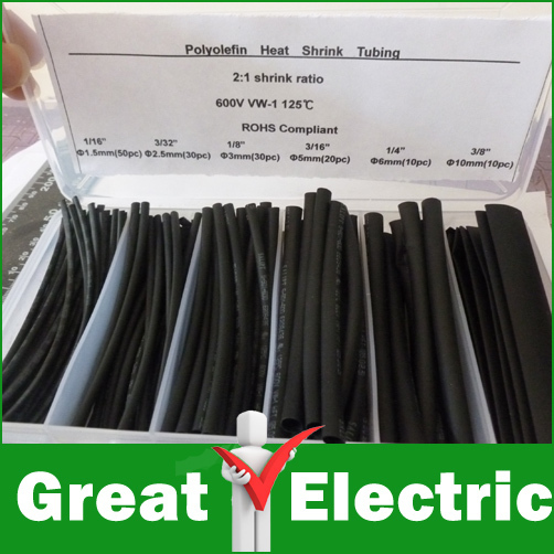 6 Sizes Heat Shrink Tubing Kit Black Colors ,Transparent Plastic Box,Shrinkable Tubing  #CGKCH009