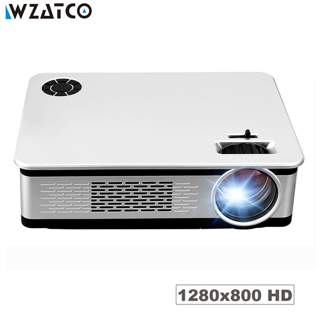 Best Promo WZATCO CK58 Android 7.1 WIFI LED LCD Projector 3500Lumen Support 4k Full HD WIFI HDMI Home Theater Portable LED Beamer Proyector