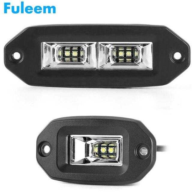 Fuleem 20W 40W Flush Mount LED Pods Flood Work Light Bar 6500K Waterproof Led Work bar For Offroad Backup pickup Car motor