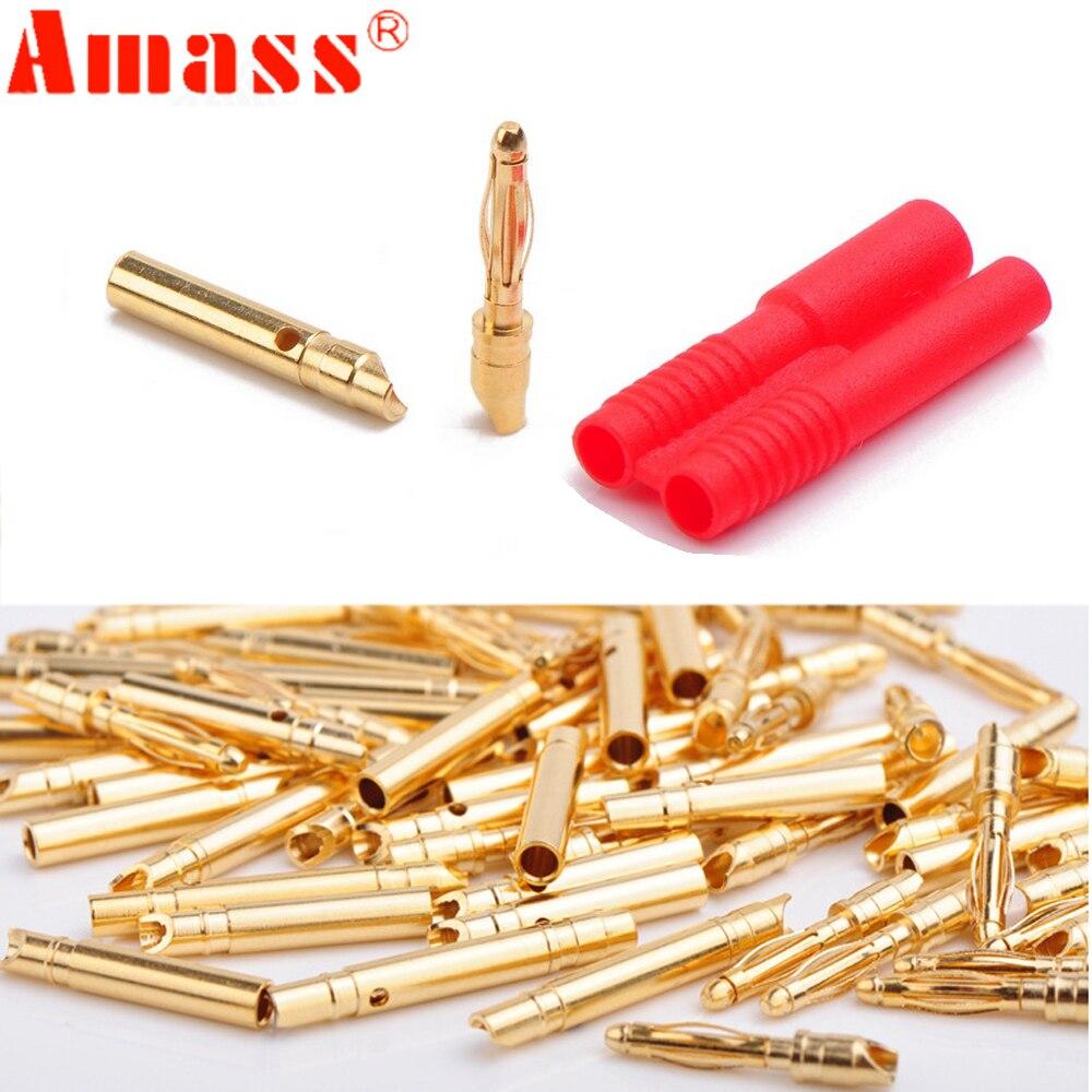 100pair Amass 2 0mm Banana plug With Belt Sheath for Rc Motor Rc Esc RC Lipo