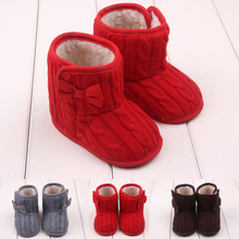 Baby Winter Shoes Infants Crochet Knit Fleece Boots Toddler Girl Boy Wool Snow Crib Shoes Booties