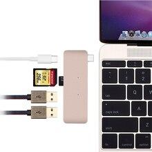 Высокоскоростной USB 3.0 Тип C Концентратор USB С 5 в 1 году Combo Концентратор с Зарядки Порт для Macbook 12 Дюймовый 13 Дюймов Карты читатель