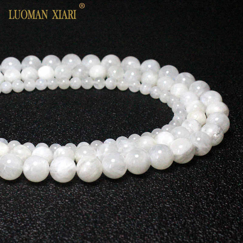 9 Beads 10mm Round A Grade Natural White Moonstone Gemstone Beads