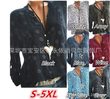 Summer Fashion Womens Long Sleeve Shirt V neck Ladies OL Top Large Size Blouse