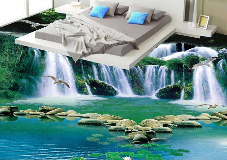 Vinyl vloeren waterdicht custom 3d floor waterval groen bos