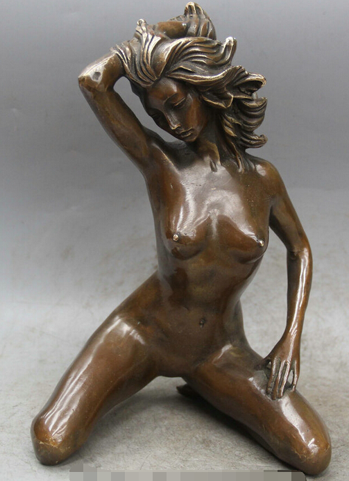 "11"" China Chinese West Copper Naked Sexy Belle Girl Beauty Lady Statue Sculpture R0710"
