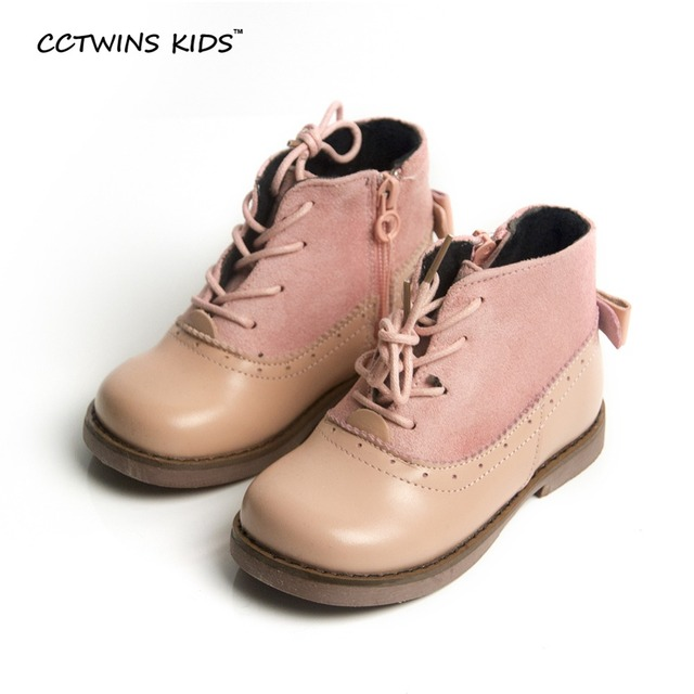CCTWINS KIDS autumn winter baby girls fashion butterfly shoes for kids pink princess boots children genuine leather boots black