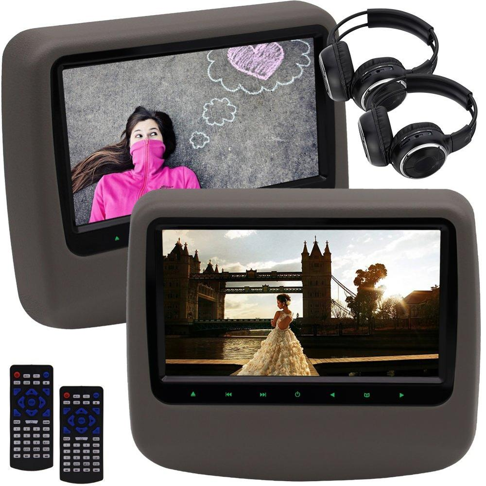 2 PCS Car Headrest Table Holder Car DVD Player Video Wide View LCD Screen Auto Monitor Support FM IR USB SD+Wireless Headphones
