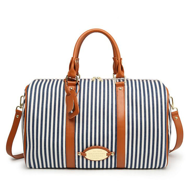 Ladies Women Canvas Travel Weekender Overnight Carry-on Shoulder Duffel  Tote Bag With PU Leather 0bed8ad678