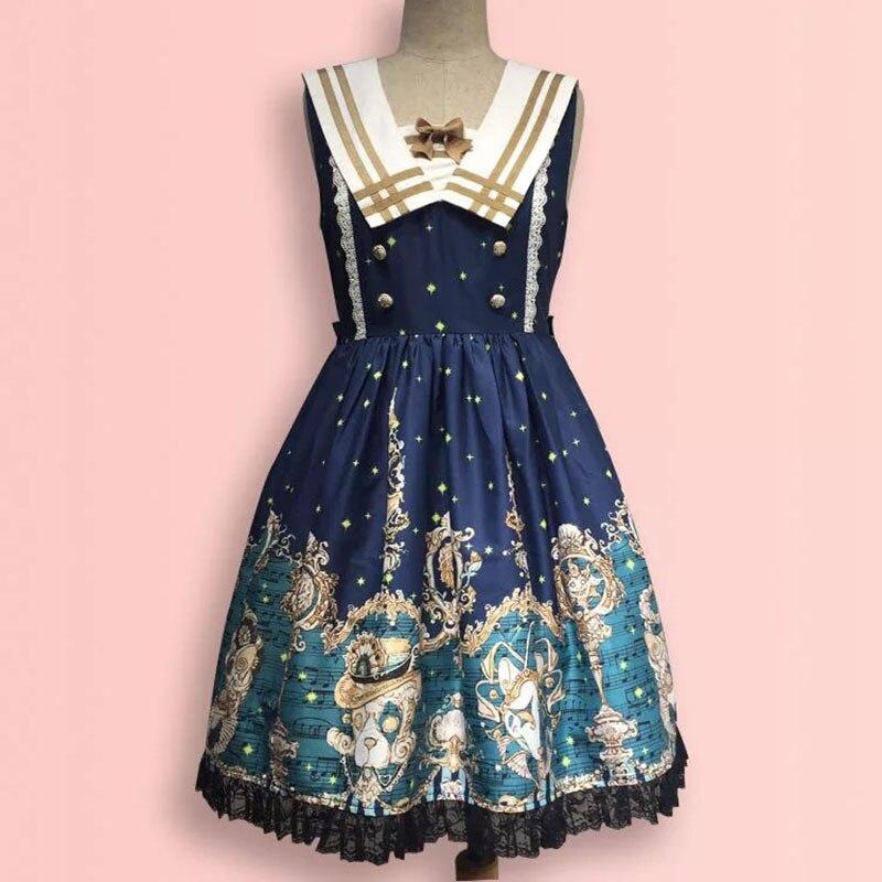 Femmes marine marin col bleu Costume collège Preppy réservoir dentelle sans manches robe JSK Lolita Anime Cosplay fête tenue pour dames