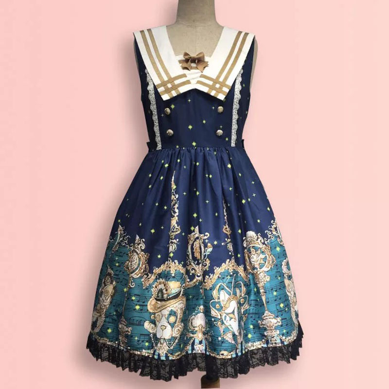 Women Navy Sailor Collar Blue Costume College Preppy Tank Lace Sleeveless Dress JSK Lolita Anime Cosplay Party Outfit For Ladies