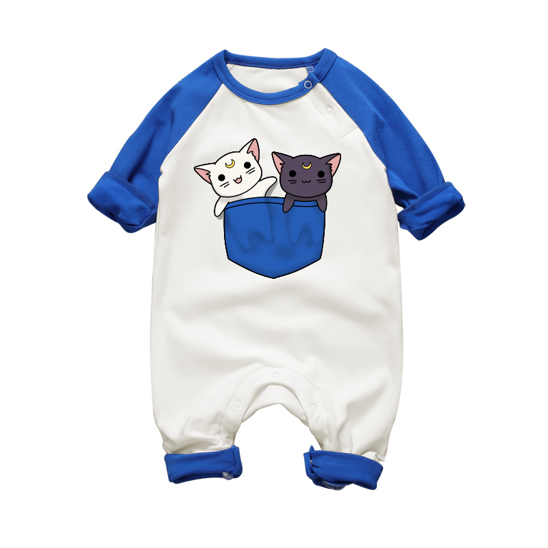 Autumn Winter Newborn Baby Rompers Long Sleeve Sailor Moon Luna Cat Baby Girls Clothing Set One-pieces Warm Jumpsuits for Infant cotton baby rompers set newborn clothes baby clothing boys girls cartoon jumpsuits long sleeve overalls coveralls autumn winter