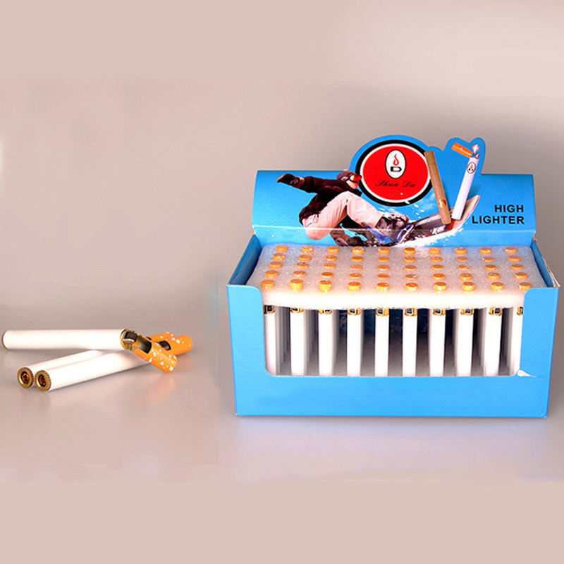 50 Pcs/box Creative Refillable Mini Compact Jet Butane Lighter Metal Cigarette Shaped Inflatable Gas Lighter Smoking (No Gas)