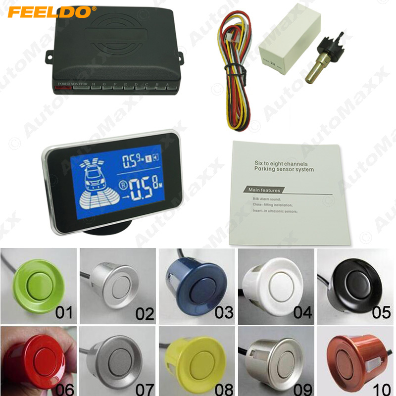 FEELDO 1Set New 8 Sensors Car Front And Rear Parking Distance Digital Dual Display Parking Sensor #AM3856 park pilot parking front and rear 8 sensors update 8k pdc ops for skoda mqb octavia