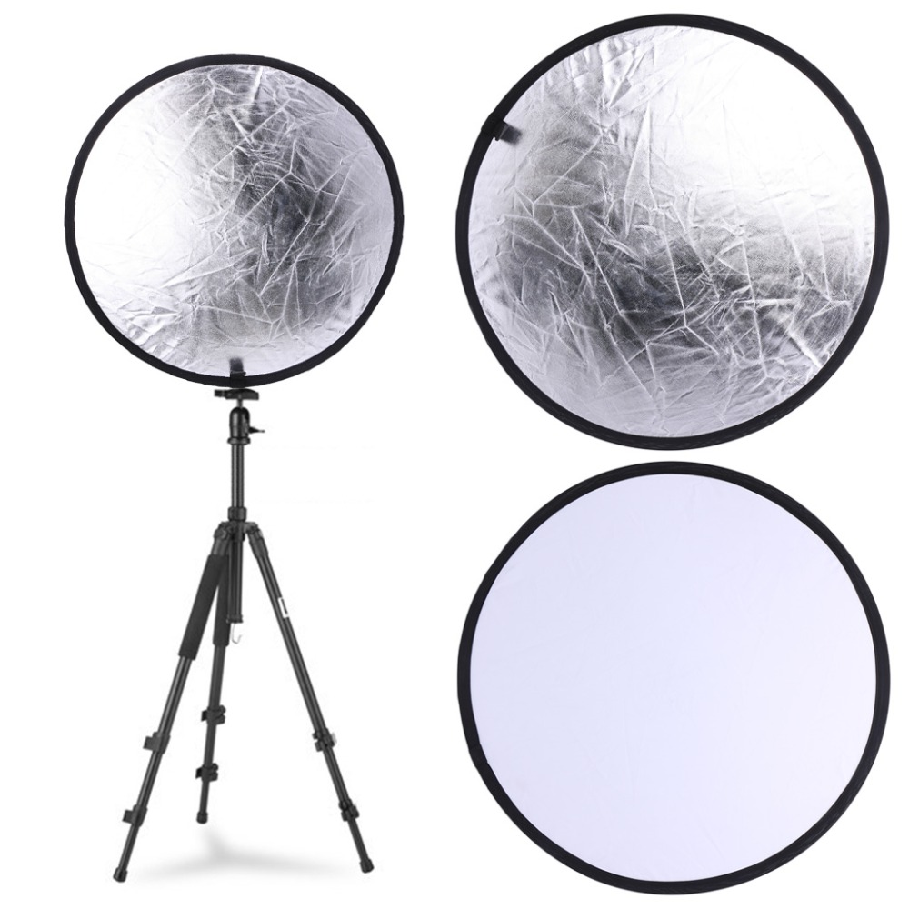 2 in 1 55-60cm Light Mulit Collapsible Disc Photography Reflector Silver/White xixu 2 60cm