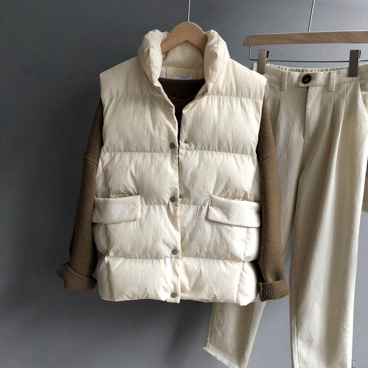 Rembourré Sans Chic khaki white Coton Manches Solide Mode Green Pain Couleur Automne Nouveau Femmes Manteau Hiver Gilet xUBSqB