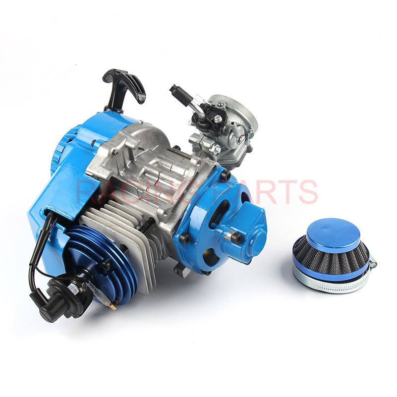 49CC Engine Aluminum Pull Start 15MM Carburetor CNC head Air filter Mini Moto Pocket ATV Quad Buggy Dirt Pit Bike Blue mini carb carburetor w air filter for 47cc 49cc mini moto atv dirt pocket bike