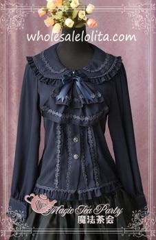 Black Deep Blue Tie Bow Chiffon Lace Long Sleeves Lolita Blouse Lolita Shirt Gothic Blouse Custom Made Blouse фото